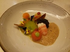 Crayfish and tomatoes with caviar